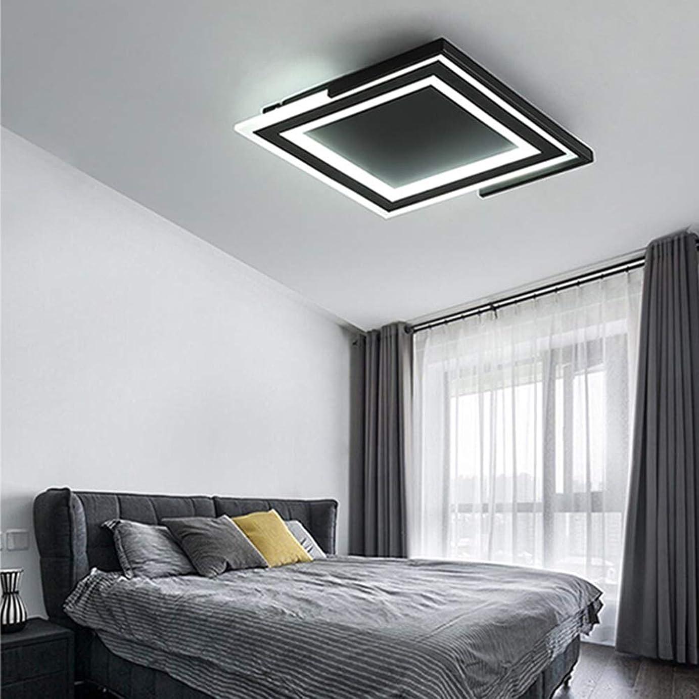 黄ばむジョイント保証金リビングルームLEDシーリングライトリモート調光モダン寝室研究室デコスクエアLEDシャンデリア備品,ColdLight,63Wblack
