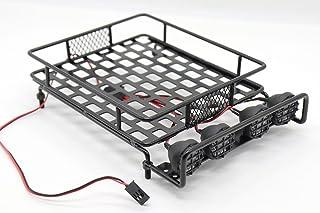 (Black) - RC 1:10 Roof Luggage Rack LED Light Bar Wrangler Tamiya CC01 SCX10 Axial 515 (Black)