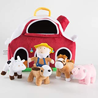 blue page Farm House with 4 Plush Animals Horse Cow Pig Dog with 1 Farmer, Stuffed Toys Farm Barn Carry Along Case, Great for Kids Boys Girls, Christmas Children's Day Gift