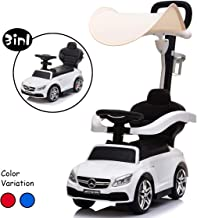 Little Brown Box 3 in 1 Licensed Mercedes Benz AMG Kids Ride on Push Car for Toddler,Baby Push Car W/ Canopy,Parent Handle,Storage,Armrest Guardrail,Music & Horn,Kid Indoor/Outdoor Push car (White 2)