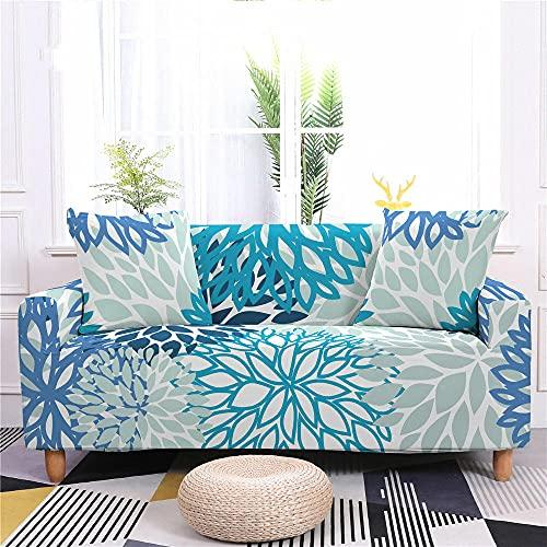 Funda Sofa 4 Plazas Chaise Longue Flor Verde Azul Fundas para Sofa con Diseño Universal,Cubre Sofa Ajustables,Fundas Sofa Elasticas,Funda de Sofa Chaise Longue,Protector Cubierta para Sofá