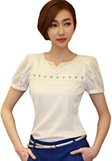 TOPUNDER 2018 Lady Women Lace Short Sleeve Shirt V Neck Blouse Doll Chiffon Tops by