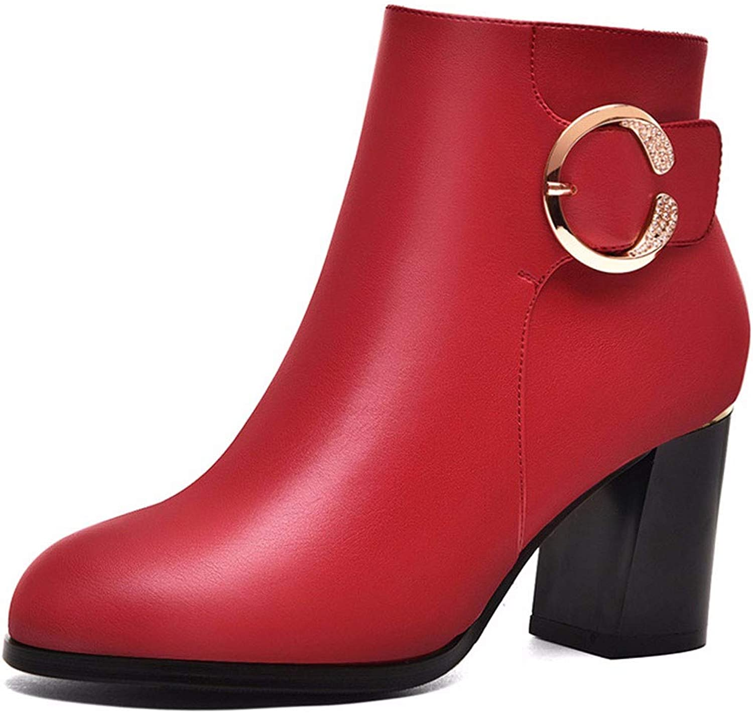 GTVERNH Women's shoes 7Cm High Heels Short Boots gold Wire Autumn and Winter Red High Heels Martin Boots Velvet Boots Winter shoes.