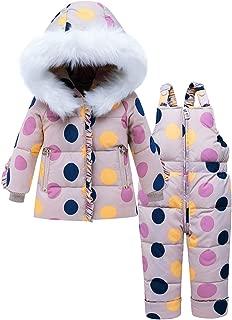 Traje de Nieve para Bebé Niña Puntos Colores Abrigo Chaqueta de Esquí con Capucha y Pantalón Niños Invierno Conjuntos de Ropa 2 Piezas