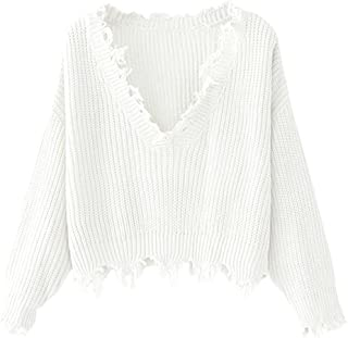 ZAFUL Women's Loose Long Sleeve V-Neck Ripped Pullover...