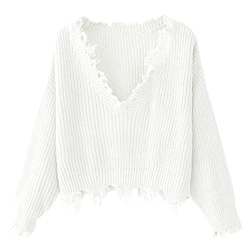90ae4cbb6ad1 ZAFUL Women s Loose Long Sleeve V-Neck Ripped Pullover Knit Sweater Crop Top