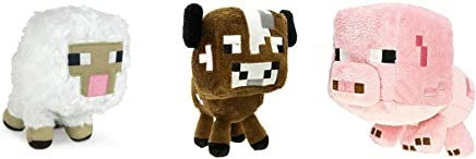 """Official Minecraft Overworld 7"""" Plush Soft Stuffed Animal Toy Set: Baby Pig, Cow and Sheep (Set of 3)"""