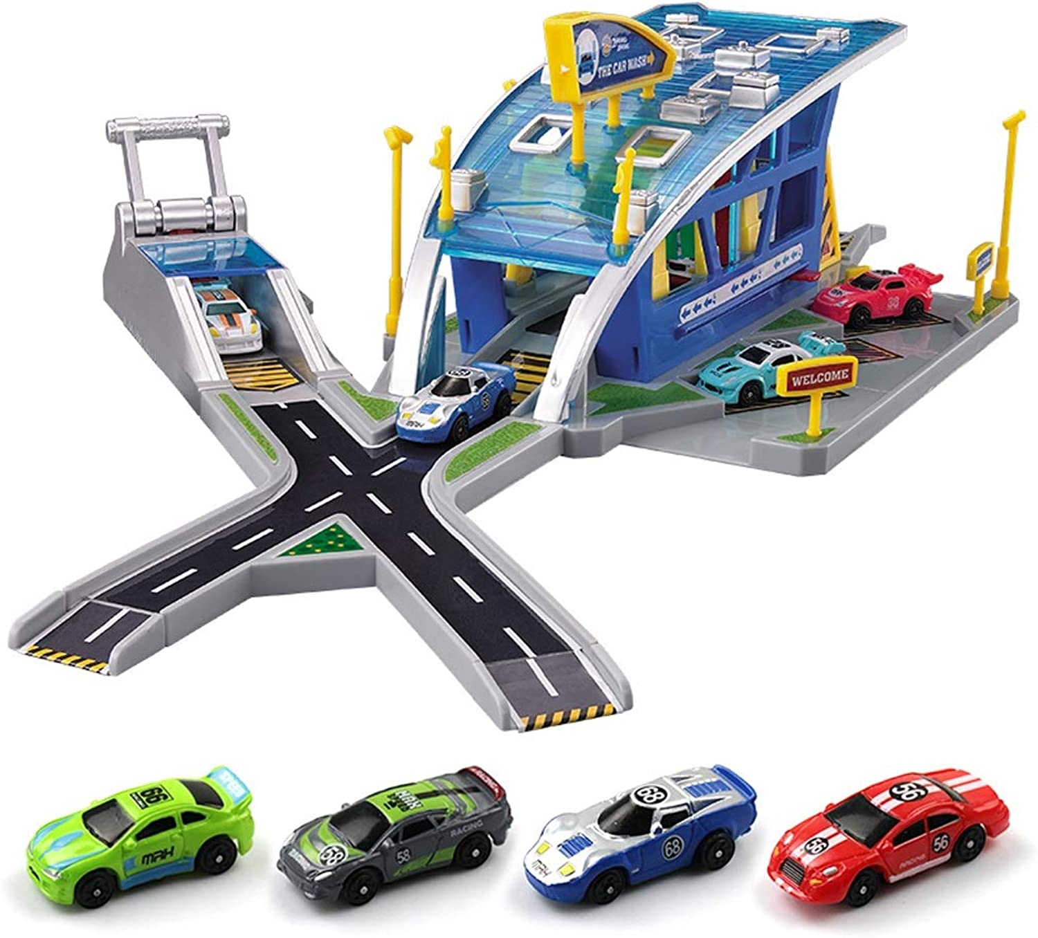 Racing Auto Repair Parking Toy Set, with 4 Cars Can Be Catapult, Car Toy Boy