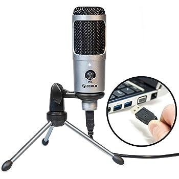 ZENLO コンデンサーマイク USBマイク PC用マイク ps4 マイク スタンド付き 単一指向性 音量調節可能 録音/生放送/YOUTUBE/オンラインチャット/ゲーム実況におすすめ Windows/Mac/PS4対応 シルバー