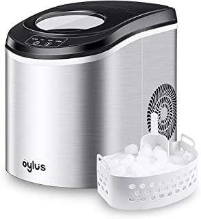 Oylus Stainless Steel Ice Maker Countertop Ice Machine for Home Kitchen Electric Ice Cube Maker - Makes 9 Ice Cubes in 7 Minutes - 26lbs Daily Perfect for Water Bottles, Mixed Drinks