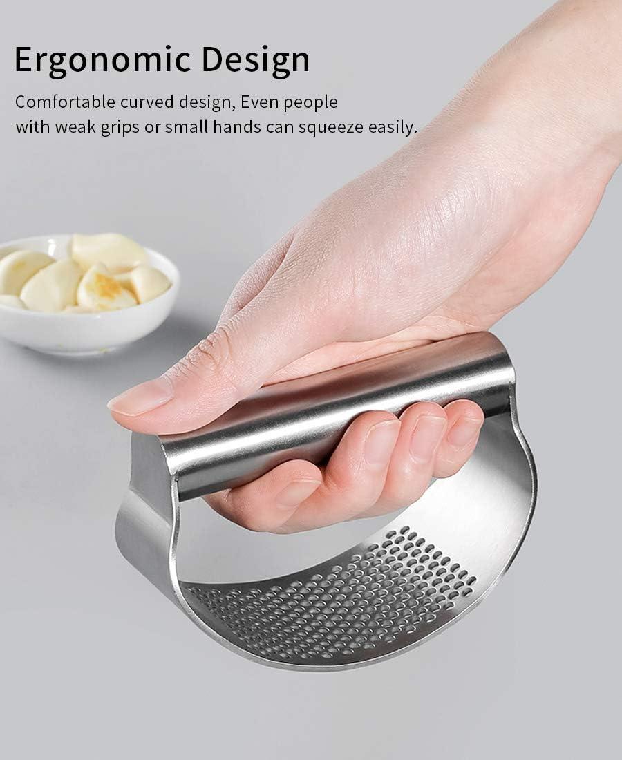 Presse-ail avec /éplucheur dail en silicone et brosse de nettoyage en acier inoxydable