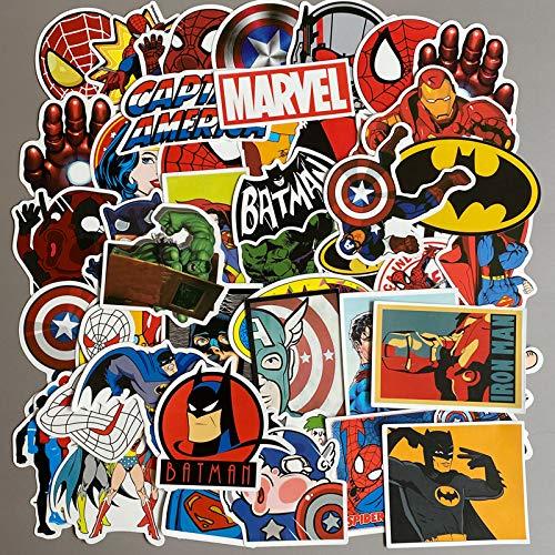 YOUKU Marvel Influenced Spider-Man Iron Man'S Avengers League Pegatina Equipaje Ordenador Portátil Pegatinas 50 Hojas