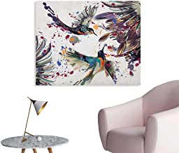 Anzhutwelve Hummingbird Corridor/Indoor/Living Room Art with Lily Flowers Birds and Color Splashes in Watercolor Painting Style Wall Poster Orange Blue W36 xL24