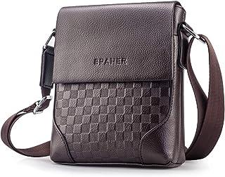 SPAHER Elegant Small Men Leather Shoulder Bag Messenger Business Bag Crossbody Tote Satchel Sling Travel Bag Handbag Case ...