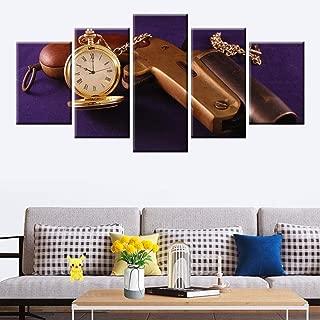 Sanzx Classic Pocket Watch And Gun Hd Print 5 Canvas Painting Boy Teen Dormitorio Decoración No30 * 40 * 2 30 * 60 * 2 30 * 80Cm Sin marco