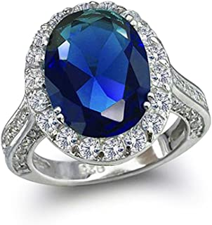 6CT Blue Simulated Sapphire Oval Solitaire Halo AAA CZ 925 Sterling Silver Statement Engagement Ring 3 Side Pave Band
