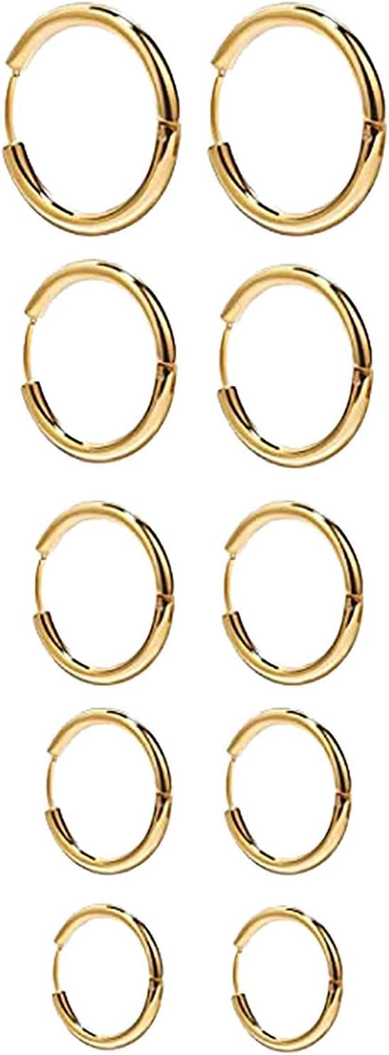 5 Pairs Small Hoop Earrings Set Stainless Steel Gold Cute Hypoallergenic Earrings for Women Girls Nickel Free, 10MM-18MM