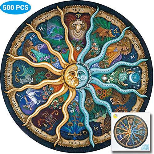 barsku rundes Puzzle Kinder 500 Stück für Erwachsene-Sternzeichen Horoskop Puzzle-DIY Constellation Circular Puzzles Cool und Herausforderung