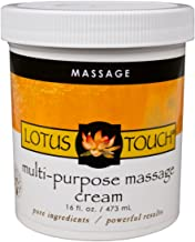 Multi-Purpose Massage Cream by Lotus Touch - 100% Pure Ingredients - Rejuvenating & Hydrating Borage & Grapeseed Oils, Calming Arnica & Ivy Extracts - Perfect Glide, Maximum Control - 16 Ounces