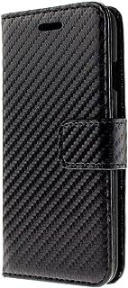 iPhone アイフォン カーボン 手帳型 ケース カバー カード入 ポケット 付 男性 女性 シンプル 機能的 (右利き iPhone7 / 8, ブラック × ブラック)