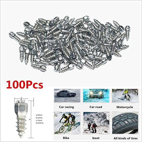 100 X Durable Vehicles Off-Road Wheel Tyres 12mm Racing Track Tire Ice Snow Chains Spikes Studs Spikes Wheel Tyres Car/Truck/ATV