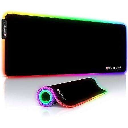 RuoCherg Alfombrilla Gaming XL, RGB Alfombrilla de Ratón para Juegos LED Grandes 12 Modos de Iluminación Superficie Impermeable Base de Goma Antideslizante para Jugadores, PC y Portátiles