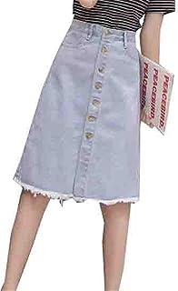 [ヤンーチ] レディース デニムスカート Aライン バリ ハイウェスト 膝丈 スカート シングルブレスト 大きいサイズ シングルブレスト 無地 タイトスカート フィット カジュアル シンプル 文芸 淑やか ファッション
