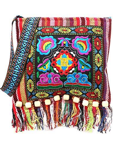 Vintage Ethnic Tribal Embroidered Tassel Sling Crossbody Boho Hippie Shoulder Bag (10x11 Inches, Red)