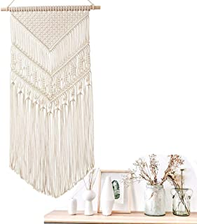 Macrame Wall Hanging Woven Tapestry Boho Decor Handmade Cotton Rope for Bedroom Living Room Home Decoration,40 x 80cm (Beige)