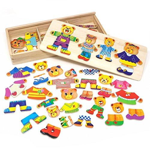 PAMRAY Rompecabezas de Vestir Juguetes Puzzles Osos Conejos Cambiar la Ropa DIY para Madera Juego para Niñas Niños Bebés de Dress up Toy de 3 Años y Más 72 Piezas Osos