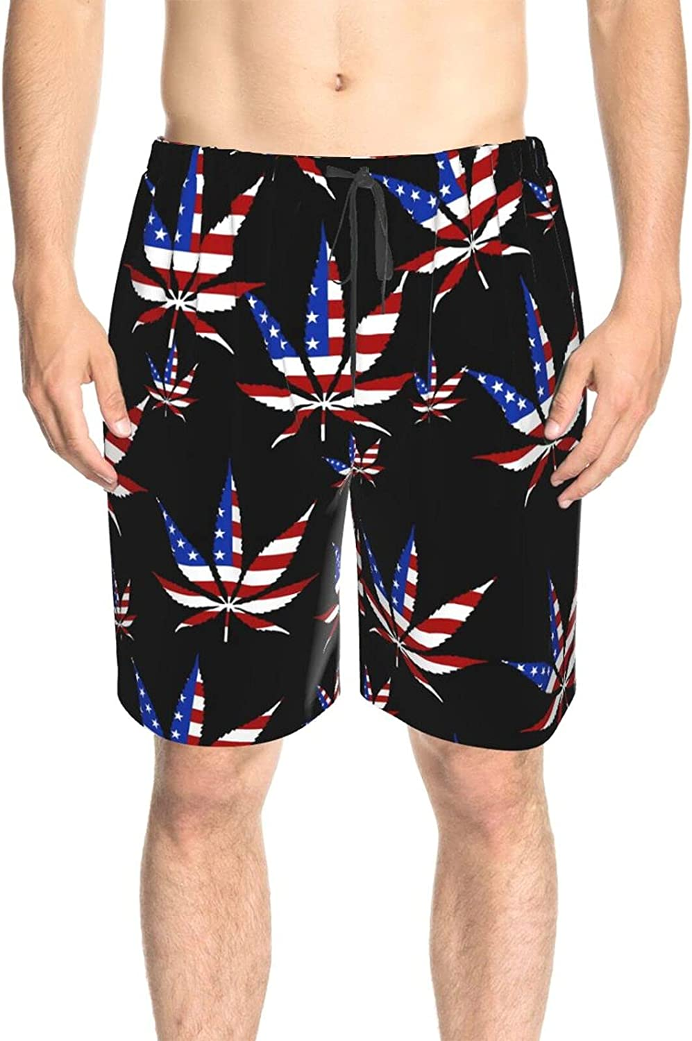 JINJUELS Mens Swim Trunks Weed Leaves American Flag Swim Board Shorts Quick Dry Cool Summer Beach Shorts with Liner