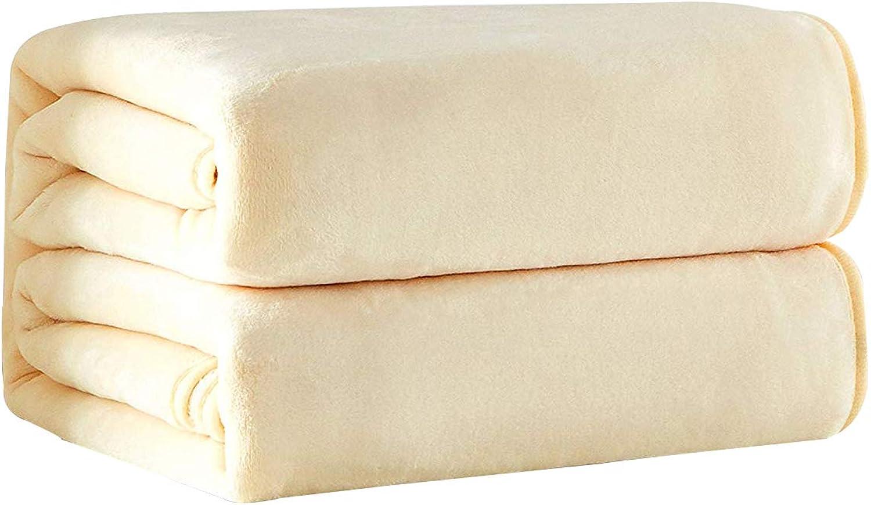 WINLIFE Fleece Blanket Lightweight Throw for Bed Warm Breathable Blanket 79  x 90  (Beige)