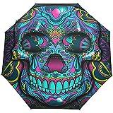 Merle House Automatische Regenschirme Bunten Totenkopf Gemälde Golf Reisen Sonne Regen Winddicht Auto Öffnen Schließen Regenschirm mit UV-Schutz