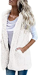 Womens Vest Sleeveless Sherpa Fleece Slim Open Front Hoodie Outerwear
