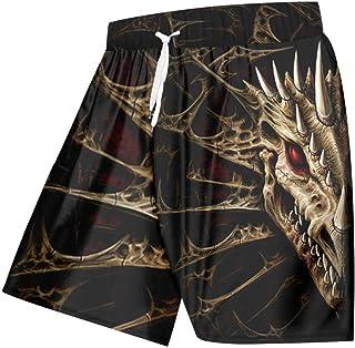 Kurze Hosen Herren Shorts Herren Casual Shorts Print Dragon Skull 3D Boardshorts Homme Schnelltrocknende Boxershose Mit Hoher Taille Strandshorts