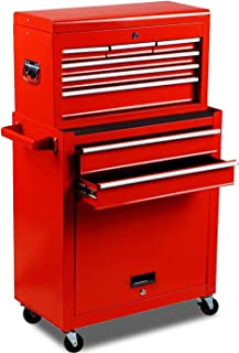 Bulk Capacity 2pcs Rolling Tool Storage Cabinet Chest with Wheels and Drawers,Mobile Heavy-Duty Utility Cart Trolley,Lockable Detachable Metal Tool Box Organizer,with Liner Handle Hook