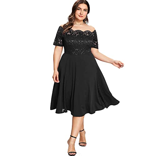 2eb33a7a36 GMHO Women s Plus Size Floral Lace Off-The-Shoulder Cocktail Formal Swing  Dress
