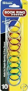 خواتم الكتب المعدنية بألوان متنوعة مقاس 2.54 سم من بازيك (10/عبوة) (عبوة من 24)