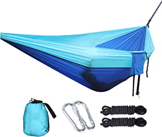 OUTDOOR WIND Single Camping Hammock Portable Indoor Outdoor Tree Hammock with 2 Hanging Ropes,Lightweight Nylon Parachute Hammocks for Backpacking Travel(Sky Blue/Blue)