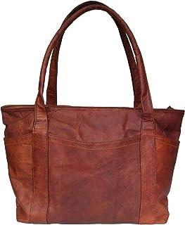 Madosh Womens Shoulder Handbag Genuine Leather Brown Tote Everyday Ladies Purse Shopper Bag