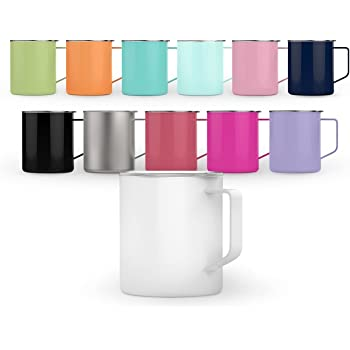 Maars Townie Insulated Coffee Mug, 14 oz   Double Wall Vacuum Sealed Camp Cup - Silver