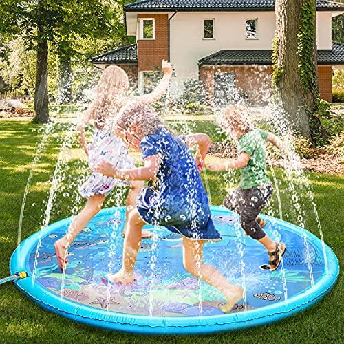 Fostoy Tappetino Gioco d'Acqua per Bambini, 68in/172cm Portatile Water Spruzzi e Splash Tappetino da Gioco, Tappetino da Gioco Splash Pad per Bambini E attività in Famiglia
