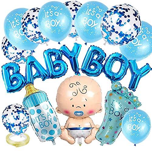 Decoraciones para baby shower para niño, globos de fiesta azules, Nesloonp, decoración de revelación de género, 15 piezas, globo para niño, bandera, botella, globo de confeti de helio con forma de pie