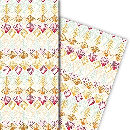 Kartenkaufrausch Leuke ethno cadeaupapierset 4 vellen, decoratiepapier, patroonpapier om in te pakken met Indiaanse patronen, geel, voor mooie geschenkverpakking, designpapier 32 x 48 cm