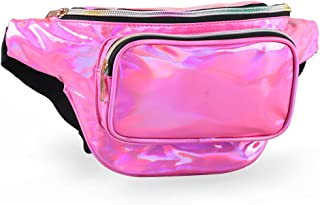 Holographic FannyPack for Women and Men with Adjustable Belts - Metallic Leather Waist Pack for Cycling,Festival,Party,Hiking,Jogging,Traveling,Outdoor Sports.