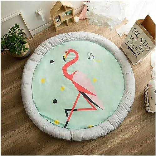 AMZ BCS Runde Babyspielmatte Kinderaktivit Gym Kinder Spielzeug Aufbewahrungskissen Waschbar Krabbeldecke Kinderzimmer Teppich Flamingo Nickerchen Tatami Durchmesser 140cm
