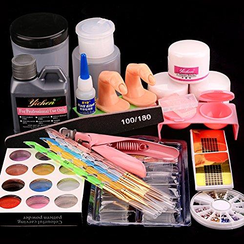 Acrylic Nail Kit Nail Full Set kit, Acrylic Liquid Powder- Glitter with Carving Powder Set,...