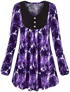 7247f53246 LISTHA Floral Henley Blouse Plus Size Women Long Sleeve Tunic Top Swing  Pullover