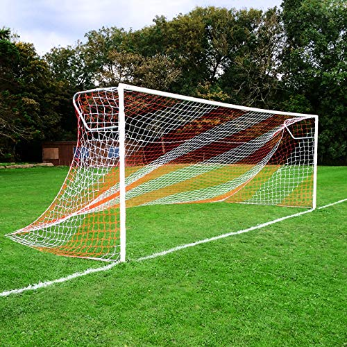 FORZA Red de Fútbol para Porterías de 7,3m x 2,4m – Rayas/Dos Colores (10 Opciones – Simple o Par) (Blanco/Negro, Par)