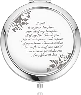 UOIPENGYI Mother of The Bride Gifts from Groom, Wedding Keepsake Gift from Son in Law, Engraved Gift Present Compact Travel Mirrors (Mother of the Bride)